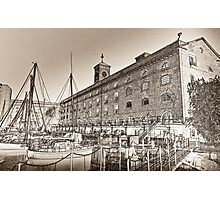 St Katherine's Dock London sketch Photographic Print