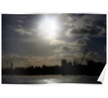 Montevideo Silhouette Reflection Poster