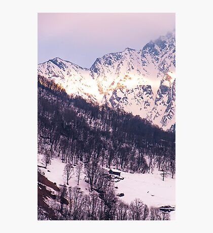 Sunshine on the snowy mountainsides Photographic Print
