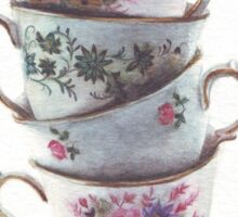Classic Teacups Stack by Helga McLeod Sticker
