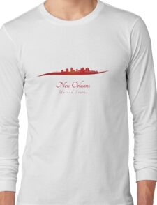 New Orleans skyline in red Long Sleeve T-Shirt