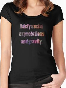 I defy Social Expectations and Gravity Women's Fitted Scoop T-Shirt