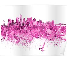 New York skyline in pink watercolor on white background Poster