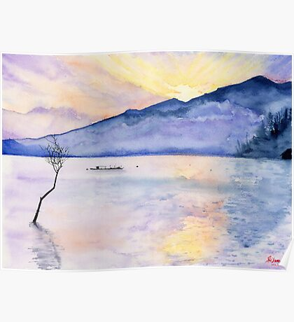 Morning Rays, Art Watercolor Painting print by Suisai Genki  Poster