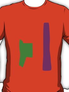 Green and Purple with Orange Background T-Shirt