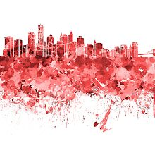 New York skyline in red watercolor on white background by paulrommer