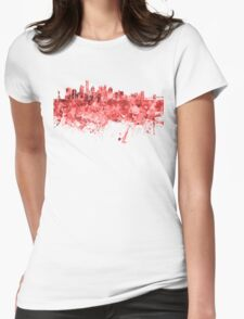 New York skyline in red watercolor on white background Womens Fitted T-Shirt
