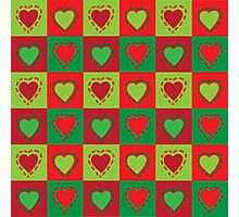 christmas hearts green and red Photographic Print