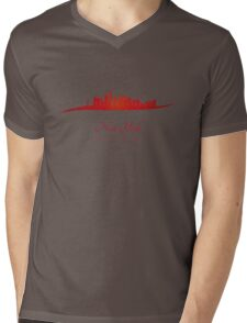 New York skyline in red Mens V-Neck T-Shirt