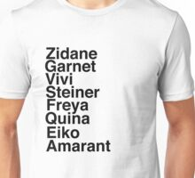 Final Fantasy IX Names Unisex T-Shirt