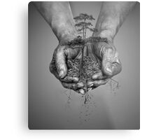 Earth In His Hands Metal Print