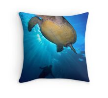 Turtle Diver Throw Pillow