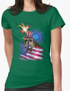 Patriotic Raccoon Womens Fitted T-Shirt