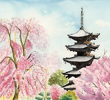 Japanese Temple Art Watercolor Painting print by Suisai Genki  by suisaigenki
