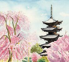 Japanese Temple Art Watercolor Painting print by Suisai Genki  by suisaigenki
