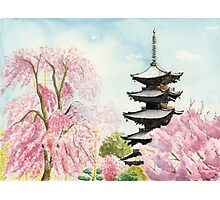 Japanese Temple Art Watercolor Painting print by Suisai Genki  Photographic Print