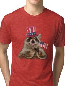 Patriotic Raccoon Tri-blend T-Shirt