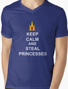 Keep Calm And Steal Princesses White Font Mens V-Neck T-Shirt