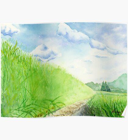 Paddy Field , Art Watercolor Painting print by Suisai Genki  Poster