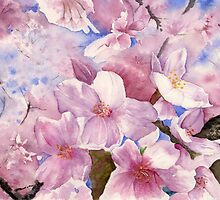 Cherry Blossom , Sakura , Art Watercolor Painting print by Suisai Genk by suisaigenki