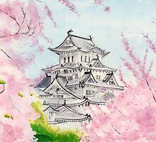 Himeji Castle , Art Watercolor Painting print by Suisai Genki by suisaigenki