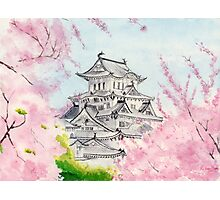 Himeji Castle , Art Watercolor Painting print by Suisai Genki Photographic Print