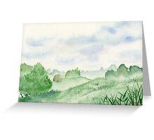 Foggy Green Field, Art Watercolor Painting print by Suisai Genki Greeting Card