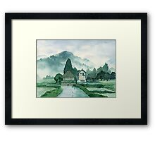 Japanese Village , After Rain , Art Watercolor Painting print by Suisai Genki Framed Print