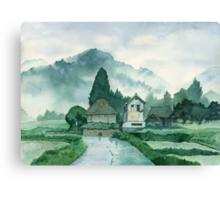 Japanese Village , After Rain , Art Watercolor Painting print by Suisai Genki Canvas Print
