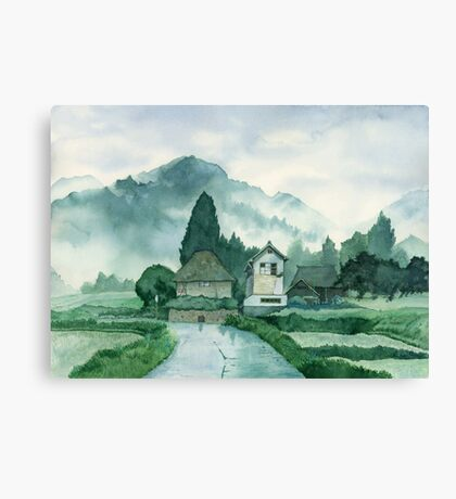 Japanese Village , After Rain , Art Watercolor Painting print by Suisai Genki Canvas Print