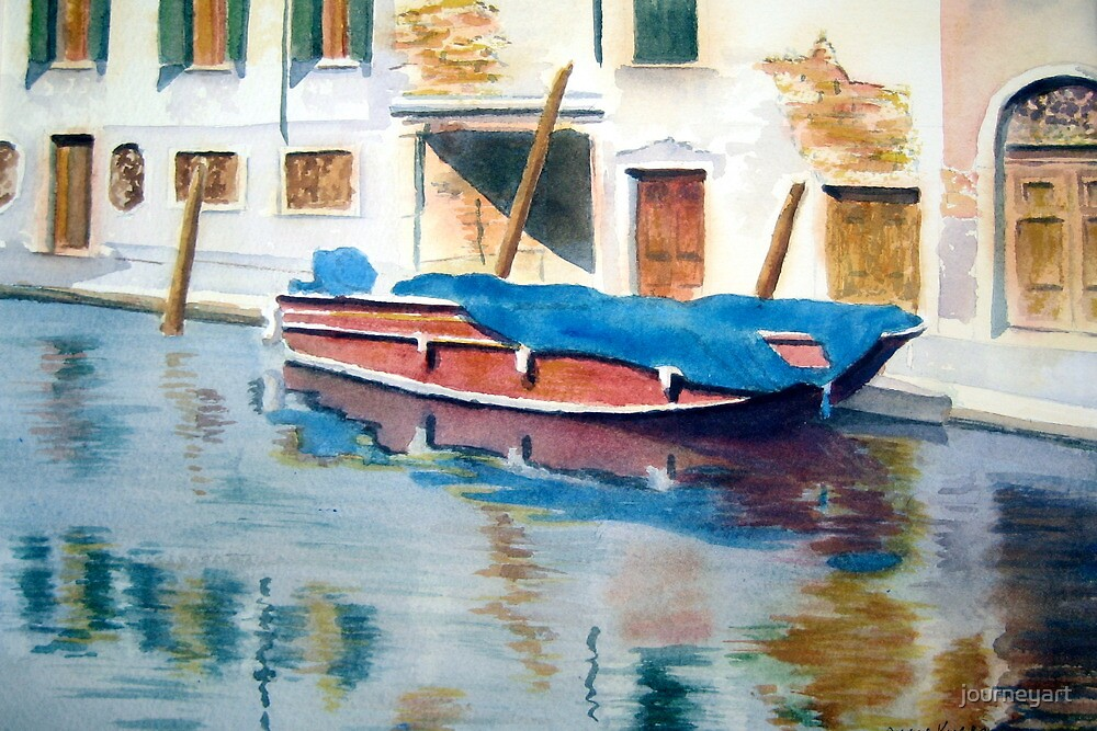 Red Boat, Venice by journeyart