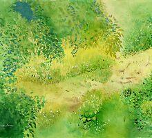 Summertime , Art Watercolor Painting print by Suisai Genki  by suisaigenki