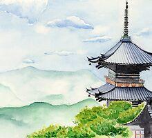 Japanese Temple, Kyoto , Kiyomizudera , Art Watercolor Painting print by Suisai Genki by suisaigenki