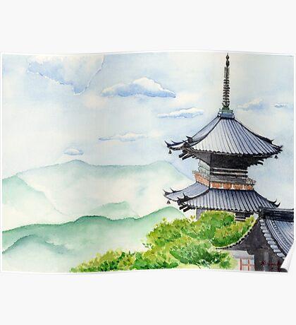 Japanese Temple, Kyoto , Kiyomizudera , Art Watercolor Painting print by Suisai Genki Poster