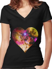 Galaxy Heart Tee One Women's Fitted V-Neck T-Shirt