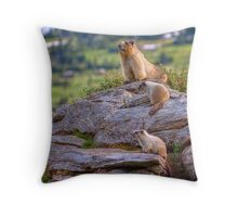 Family of Marmots Throw Pillow