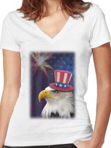 Patriotic Eagle Women's Fitted V-Neck T-Shirt