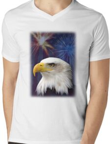 Patriotic Eagle Mens V-Neck T-Shirt