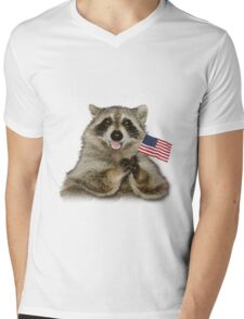 Patriotic Raccoon Mens V-Neck T-Shirt