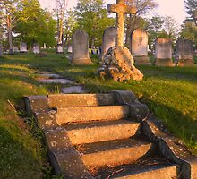 Evening Cross - Evergreen Cemetery - Portland, ME by Connie Thomase