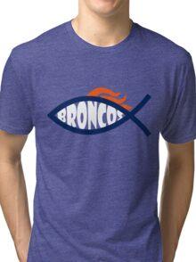 Broncos Jesus Fish Tri-blend T-Shirt