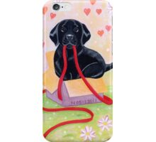 Adorable Black Labrador Ribbon iPhone Case/Skin