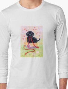 Adorable Black Labrador Ribbon Long Sleeve T-Shirt