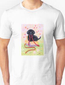 Adorable Black Labrador Ribbon Unisex T-Shirt