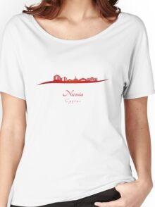 Nicosia skyline in red Women's Relaxed Fit T-Shirt