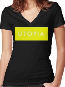 Utopia - Yellow Women's Fitted V-Neck T-Shirt