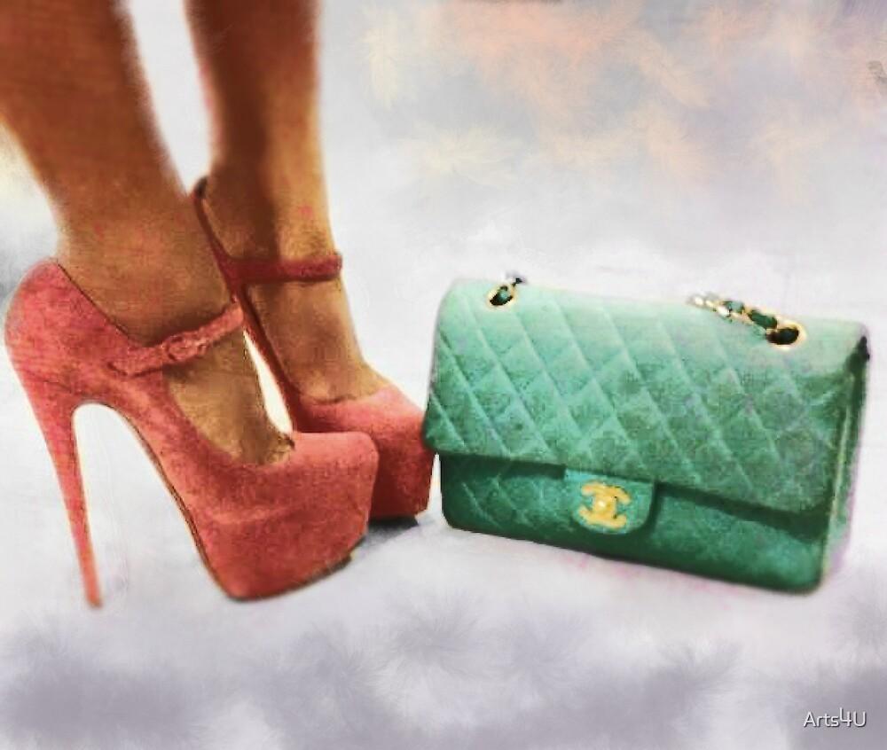 Vintage Chic Pink Stiletto Heels and Handbag by Arts4U