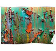 Flaking Paint on Rust Poster