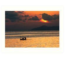 A Sunset Paddle Art Print