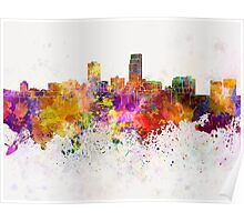 Omaha skyline in watercolor background Poster